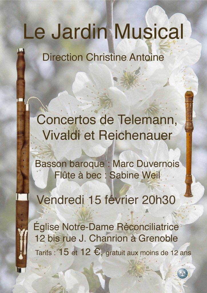 Affiche du concert Le Jardin Musical 15 février 2019.